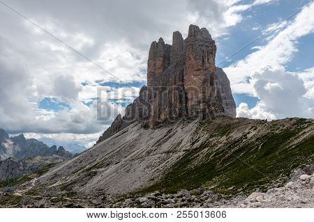 The Tre Cime Di Lavaredo, The Most Famous Peaks In The Italian Dolomites, On A Summer Afternoon