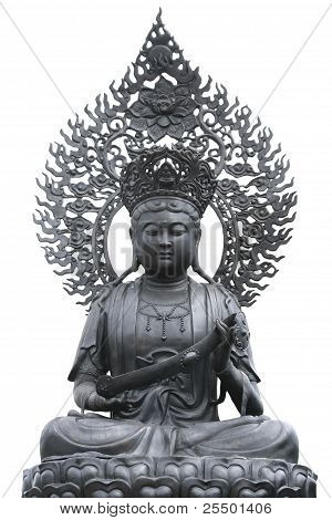 Metal Buddha Statue In Chinese Temple