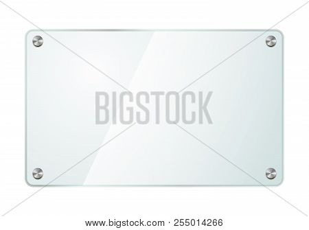 Realistic Glossy Glass Plate With Metal Screws Isolated On White
