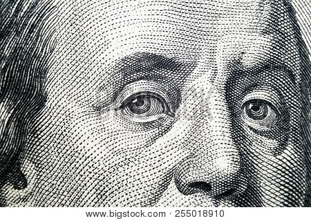 Close Up View Portrait Of Benjamin Franklin On The One Hundred Dollar Bill. Background Of The Money.
