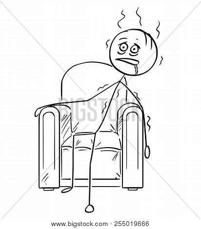 Cartoon Stick Drawing Conceptual Illustration Of Exhausted Man Sitting Collapsed In Armchair.