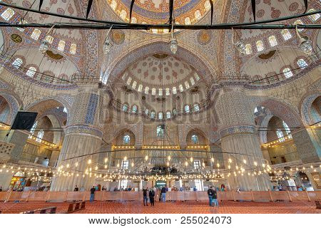 Istanbul, Turkey - April 16, 2017: Interior Of Sultan Ahmed Mosque (blue Mosque), With A Huge Pillar