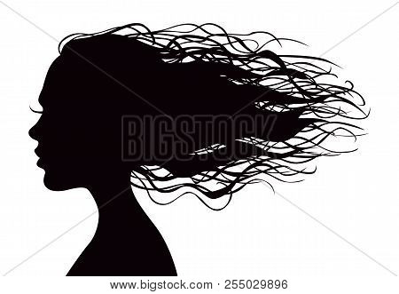 Black Vector Beautiful Woman's Portrait Silhouette With Long Flowing Hair