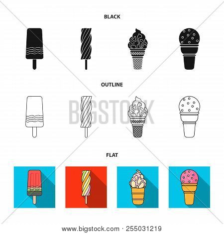 Ice Cream On A Stick, In A Waffle Cone And Other Species. Ice Cream Set Collection Icons In Cartoon
