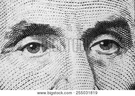 Close Up View Portrait Of Abraham Lincoln On The One Five Dollar Bill. Background Of The Money. 5 Do
