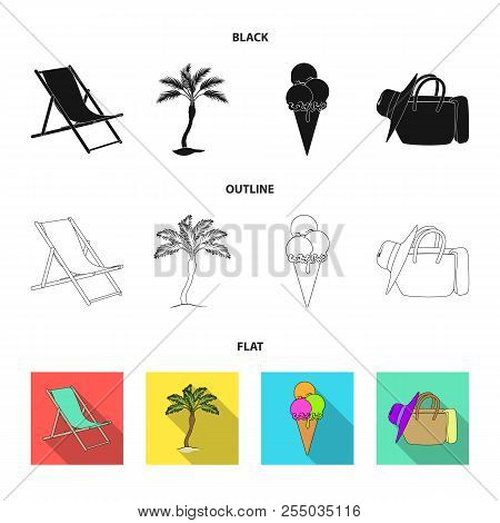 Beach, Palm Tree, Ice Cream.summer Vacation Set Collection Icons In Cartoon Style Vector Symbol Stoc