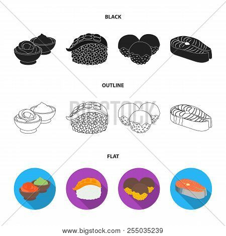 Wasabi Sauce And Ginger, Salmon Steak, Octopus. Sushi Set Collection Icons In Cartoon Style Vector S