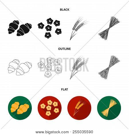 Different Types Of Pasta. Types Of Pasta Set Collection Icons In Cartoon Style Vector Symbol Stock I
