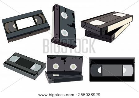 The Set Of Videotapes From Different Sides