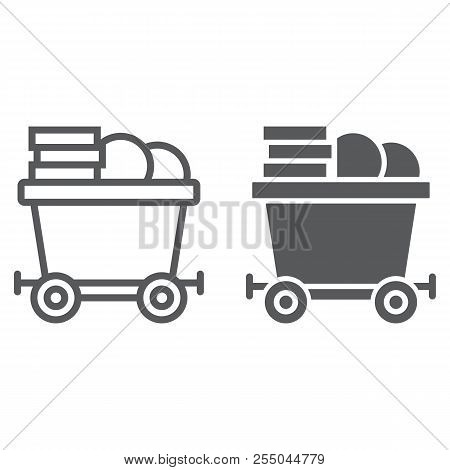 Coins On Mine Trolley Line And Glyph Icon, Finance And Money, Bitcoin Mining Trolley Sign, Vector Gr