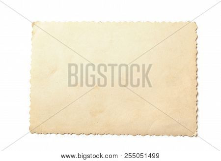 Old Photos Isolated On White Background. Mock-up Blank Paper. Postcard Rumpled And Dirty Vintage. Re