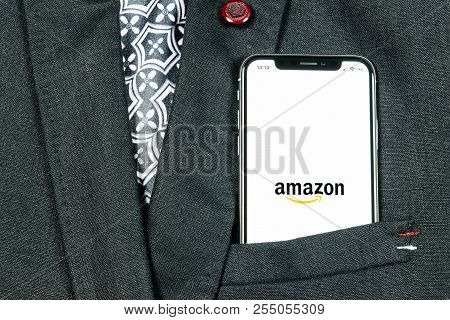 Sankt-petersburg, Russia, August 24, 2018: Amazon Shopping Application Icon On Apple Iphone X Screen