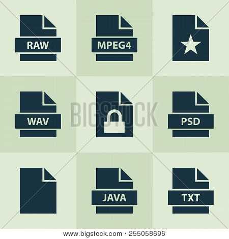 Document Icons Set With Raw, Favorite, Psd And Other Programming Language Elements. Isolated Vector