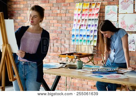 Creative Artist Workspace. Painting Workshop. Painters Crafty Lifestyle. Artist Drawing A Pictures O