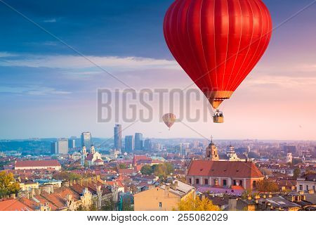 Hot Air Balloons Flying Over Vilnius, Lithuania