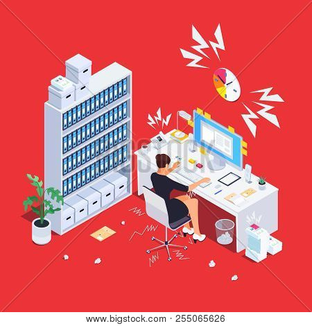 Stressful Wqman At Work. Busy Businesswqman In Hard Working. Deadline Project. Vector Illustration.