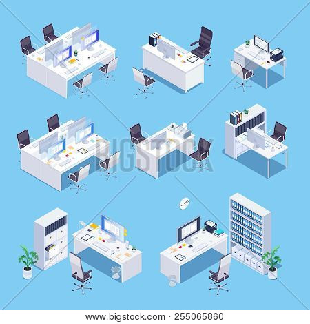 Workplace. Isometric Set Of Office Room. White 3d Office Furniture. Vector Illustration.