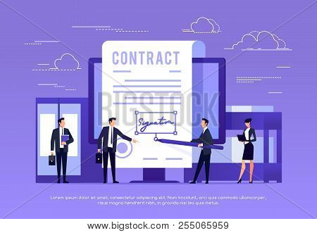 Vector Concept Of E-signature. Signing A Contract With An Electronic Signature. Businessman In Works