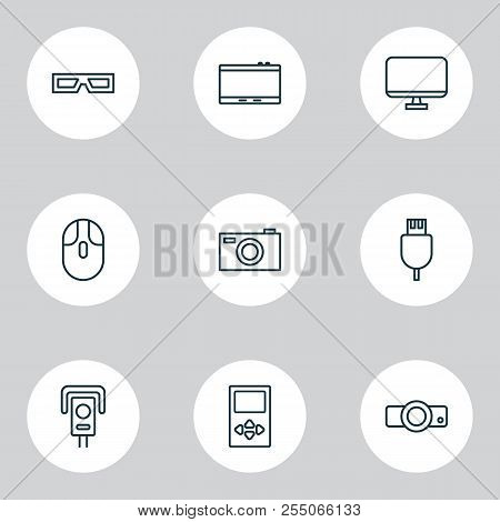 Device Icons Set With Usb Cable, 3d Glasses, Cursor Mouse And Other Control Device Elements. Isolate