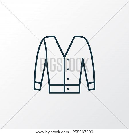 Short Cardigan Icon Line Symbol. Premium Quality Isolated Jacket Element In Trendy Style.