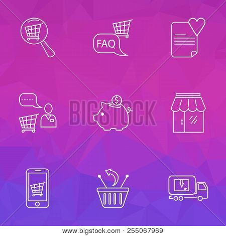 Commerce Icons Line Style Set With Search Shop, Shop Faq, Delivery Truck And Other Information Eleme