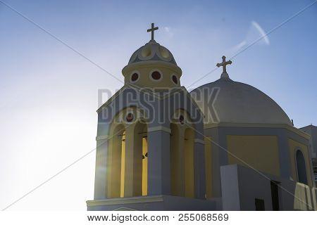 Chiesa meravigliosa Santorini, Isole Greche, Isole Cicladi poster