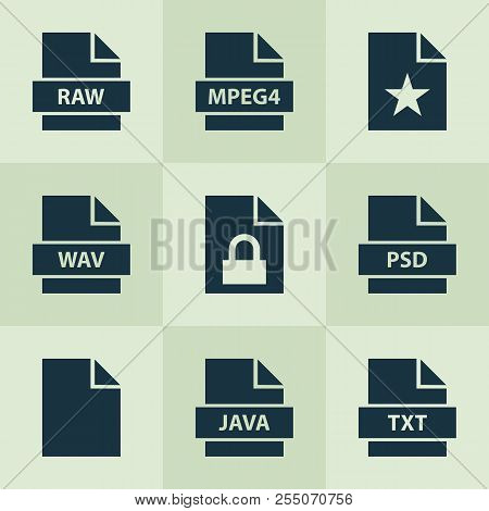Document Icons Set With Raw, Favorite, Psd And Other Programming Language Elements. Isolated  Illust