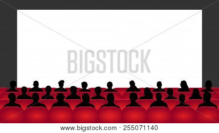 People Sit Cinema Hall. Audience Cinema, Theater. Crowd Of People In The Auditorium, Silhouette Vect