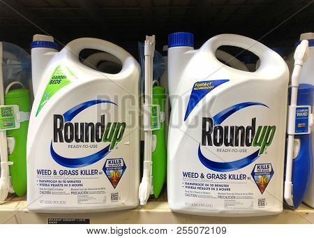 Oakland, Ca - August 13, 2018: Garden Supply Store Shelf With Containers Of Roundup Weed Killer. A S