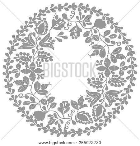 Grey, Black And White Laurel Wreath Vector Frame Isolated On White Background