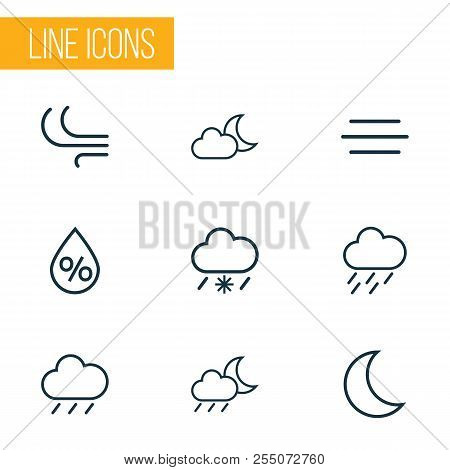 Air Icons Line Style Set With Wind, Breeze, Rainfall And Other Rainstorm Elements. Isolated Vector I