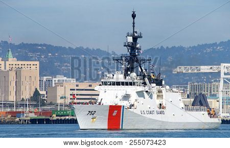 Oakland, Ca - March 11, 2018: Coast Guard Vessel Stratton Departing Alameda Coast Guard Island, One