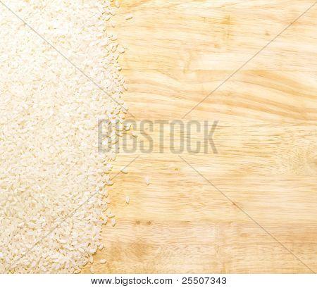 White Rice On Cutting Board
