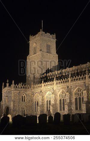 Holy Trinity Church, Blythburgh, Suffolk, England, Floodlit At Night