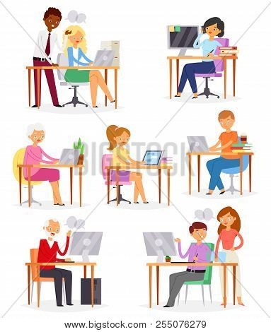 People Work Place Vector Business Worker Or Person Working On Laptop At The Table In Office Illustra