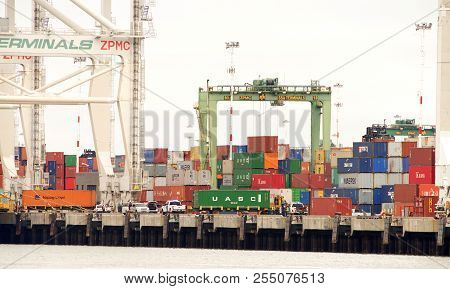 Oakland, Ca - July 30, 2018: Stacks Of Shipping Containers Line The Docks At The Port Of Oakland, Aw