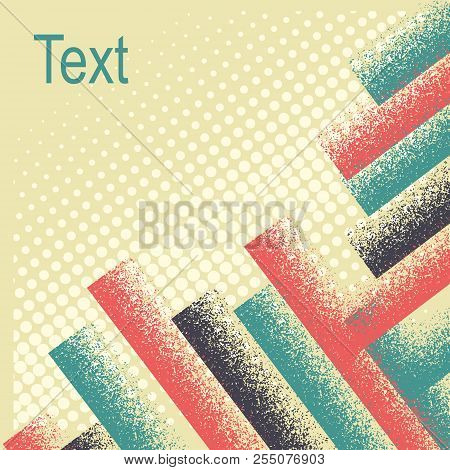 Colorful Abstract Background With Retro Decoration.vector Simple Flat Style