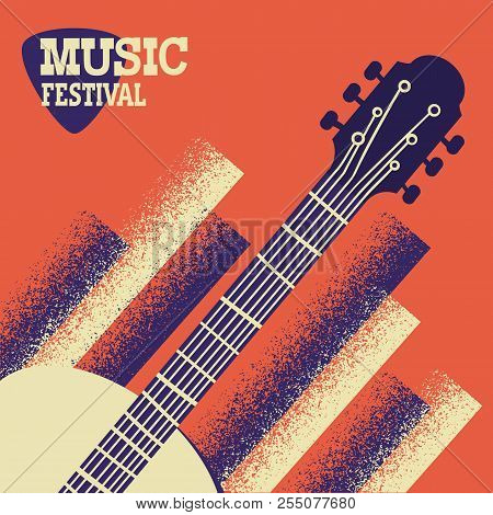 Music Concert Background With Acoustic Guitar. Vector Music Festival Poster