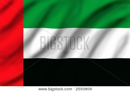 Flag of United Arap Emirates waving on the wind poster