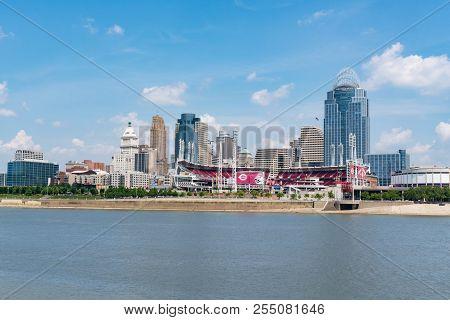 Cincinnati, Oh - June 18, 2018: Cincinnati, Ohio Skyline With The Great American Ballbark, Home Of T