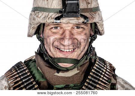 Happy smiling commando soldier in combat helmet poster