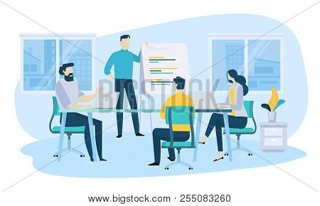 Vector Illustration Concept Of Business Meeting, Teamwork, Training, Improving Professional Skill. C