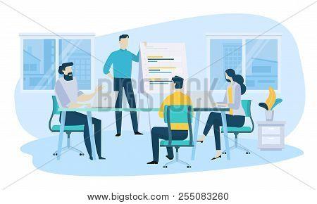 Vector Illustration Concept Of Business Meeting, Teamwork, Training, Improving Professional Skill. C