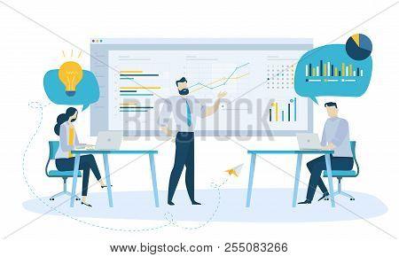 Vector Illustration Concept Of Team Management. Creative Flat Design For Web Banner, Marketing Mater