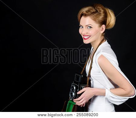 Smiling Girl In White Dress With Retro Old Photo Camera. Vintage Photography Concept - Woman In Retr