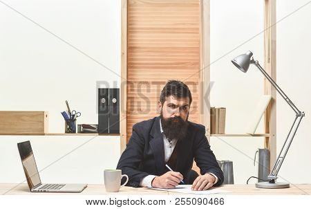 Ceo Businessman. Confident Serious Business Man In Suit Sitting At Workplace. Busy Businessman. Ceo