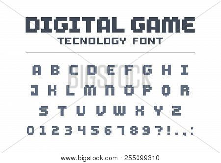Digital Game Technology Font. Retro Letters And Numbers For Video, Computer, Mobile App Logo Design.