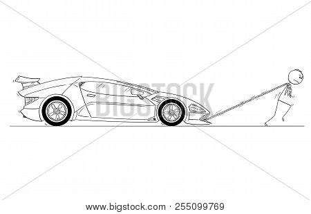 Cartoon Of Man Or Businessman Pulling Broken Or Out Of Gas Expensive Luxurious Sport Car