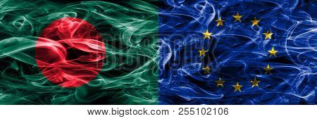 Bangladesh Vs European Union Smoke Flags Placed Side By Side. Thick Colored Silky Smoke Flags Of Ban