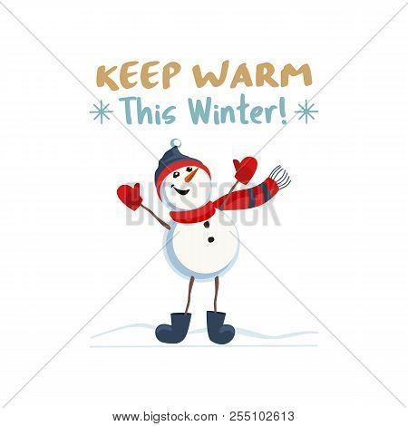 Fancy Seasonal Poster. Cartoon Playful Fun Snowman Snow Ball. Template For Merry Christmas Winter Se